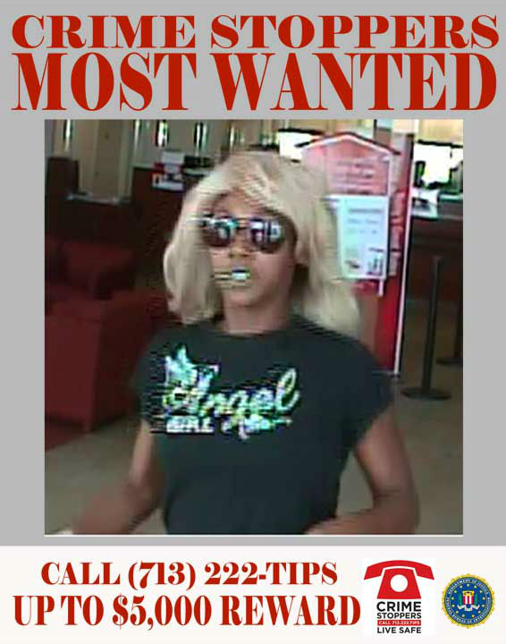 "<div class=""meta image-caption""><div class=""origin-logo origin-image ""><span></span></div><span class=""caption-text"">The female suspect featured in this profile is responsible for a series of bank robberies throughout the Houston metropolitan area.  Between June 2, 2012 and July 6, 2012, the featured suspect robbed three banks located along the Katy Freeway.  In each of the instances, the female suspect wore a distinctive wig and sunglasses to conceal her identity.  Upon entering the bank, the suspect passed notes to the teller threatening bodily harm.  Each note stated that the suspect had either a bomb, a gun or both.  The suspect was seen fleeing one scene in a gray Acura.  A list of the dates, locations and an offense report number for each case can be found below.   1.	06/05/2012:	9700 Katy Freeway  2.	06/19/2012:	9300 Katy Freeway  3.	07/06/2012:	9700 Katy Freeway     If you recognize any of theses suspects, contact Crime-Stoppers at 713-222-TIPS.  You could earn a cash reward.  (Photo/Crime-Stoppers.org)</span></div>"