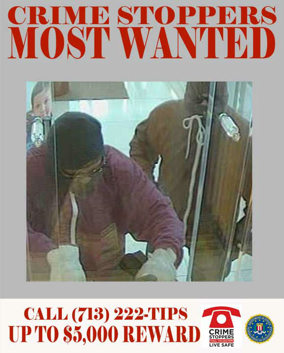 This duo is sought for a series of armed, take-over style robberies throughout the Houston Metropolitan Area.  These suspects are responsible for at least eight bank robberies throughout the year of 2012.  In most instances, two unidentified suspects enter the bank in question wielding pistols.  While one suspect subdues the patrons and employees in the lobby of the bank, the other addresses the tellers, and collects varying amounts of cash.  The suspects then flee the scene in unknown directions, driving unknown vehicles.   Each of the suspects is wearing concealing clothing to obscure their identity from witnesses and surveillance cameras.  A list of dates, locations and offense report numbers for the series of take-over robberies is below:  1.	01&#47;17&#47;2012: 1118 North Freeway  2.	02&#47;25&#47;2012: 3800 Westheimer 3.	03&#47;24&#47;2012: 2801 Kirby 4.	04&#47;09&#47;2012: 5700 Woodway  5.	04&#47;10&#47;2012: 13700 East Freeway  6.	04&#47;21&#47;2012: 2005 Taylor, Houston TX  7.	06&#47;01&#47;2012: 13700 East Freeway  8.	06&#47;25&#47;2012: 1625 S. Voss, Houston TX   If you recognize any of theses suspects, contact Crime-Stoppers at 713-222-TIPS.  You could earn a cash reward.  <span class=meta>(Photo&#47;Crime-Stoppers.org)</span>