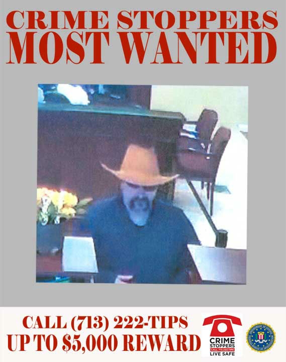 "<div class=""meta ""><span class=""caption-text "">This male suspect is responsible for passing a threatening note to a bank teller demanding cash.  On August 20, 2012, the unidentified white male entered the bank located near the 1600 block of W. Bay Area Blvd.  The suspect wore a blue workman's jumpsuit, sunglasses and a distinctive orange cowboy's hat.  The suspect approached the teller's counter, and passed a note threatening to detonate a bomb that was on the suspect's person.  The suspect retrieved an indeterminate amount of money, and fled the scene in an unknown direction.     08/20/2012: 1600 W. Bay Area Blvd  If you recognize any of theses suspects, contact Crime-Stoppers at 713-222-TIPS.  You could earn a cash reward.  (Photo/Crime-Stoppers.org)</span></div>"