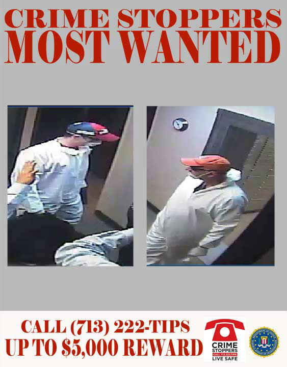 Two white male suspects are sought for this take-over style robbery at a bank located along the Katy Freeway.  On August 9, 2012, two unidentified male suspects wearing painter&#39;s masks and jumpsuits entered the bank located near the 20000 block of the Katy Freeway in Harris County, Texas.  The two suspects wielded pistols, and ordered the store employees into the back of the bank.  There, they held the employees at gunpoint as they cleared the vault of some of its contents.  The suspects fled the scene after spending a brief amount of time in the bank with an indeterminate amount of cash.    08&#47;09&#47;2012: 20000 Katy Freeway  If you recognize any of theses suspects, contact Crime-Stoppers at 713-222-TIPS.  You could earn a cash reward.  <span class=meta>(Photo&#47;Crime-Stoppers.org)</span>