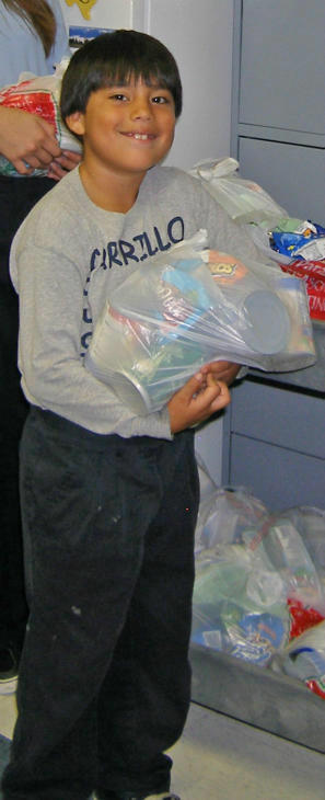 "<div class=""meta ""><span class=""caption-text "">An elementary student with goodies from the Backpack Buddy program</span></div>"