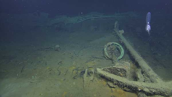Lying next to an anchor are the remains of the ship&#39;s helm and steering wheel from a third shipwreck just discovered in the Gulf of Mexico in more than 4,300 feet of water.  The wreck is one of three sites investigated by scientists from the Bureau of Ocean Energy Management, the National Oceanic and Atmospheric Administration, the Bureau of Safety and Environmental Enforcement, the Texas Historical Commission, and the Meadows Center for Water and the Environment at Texas State University.  The project was funded by donations and sponsorships arranged by the Meadows Center, and conducted in partnership with the Ocean Exploration Trust at the University of Rhode Island on board the Exploration Vessel Nautilus. <span class=meta>(Ocean Exploration Trust&#47;Meadows Center for Water and the Environment, TSU)</span>