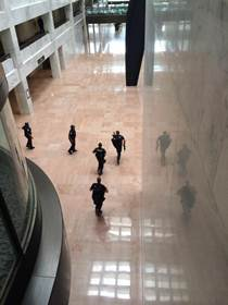 Authorities locked down the U.S. Capitol after shots rang out on the campus Thursday afternoon. A female suspect was killed. <span class=meta>(Marc Schloss)</span>