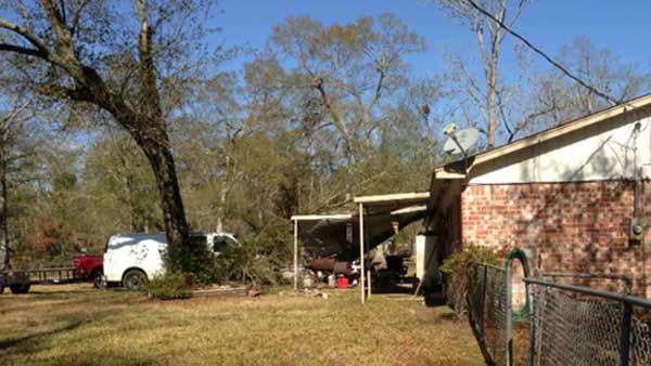 An iWitness user in Splendora sent us this picture, the aftermath of a strong storm that blew over the Houston area on Christmas morning. <span class=meta>(KTRK Photo)</span>
