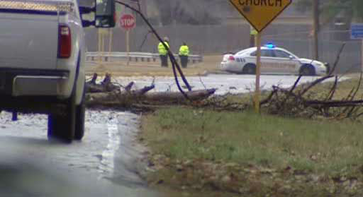 Detectives in northwest Harris County investigate a weather-related accident where a young man trying to move a downed tree was killed by another tree that fell on top of him.  <span class=meta>(KTRK Photo)</span>
