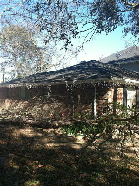 An iWitness user says the Christmas morning storms toppled that tree on the house, leaving nine holes in the roof. <span class=meta>(KTRK Photo)</span>