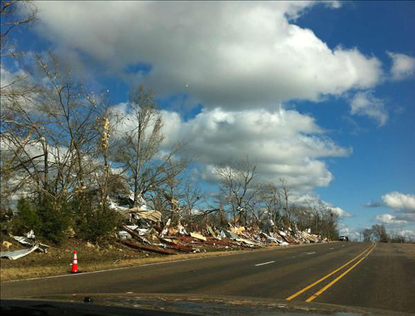 An iWitness user captures the damage caused along Highway 287 near Groveton after a strong weather system blew into southeast Texas on Christmas morning. <span class=meta>(KTRK Photo)</span>