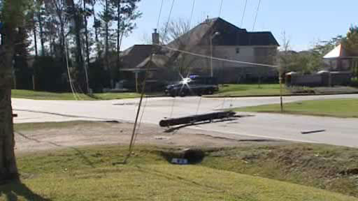 Eyewitness News Reporter Pooja Lodhia was in Kingwood to cover the aftermath of the Christmas morning storms when a transformer on a downed power line burst into flames. <span class=meta>(KTRK Photo)</span>