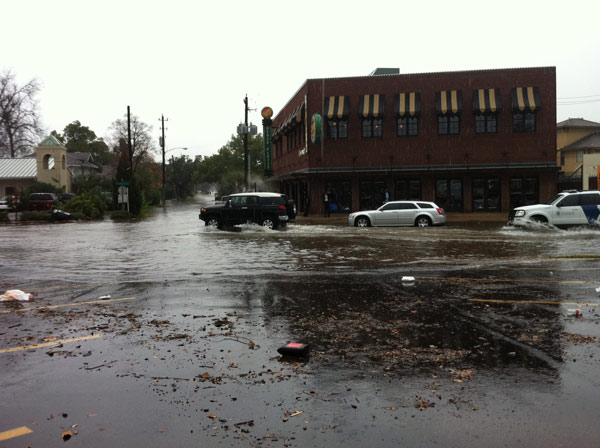 Moderate street flooding on Westheimer near Katz's Deli