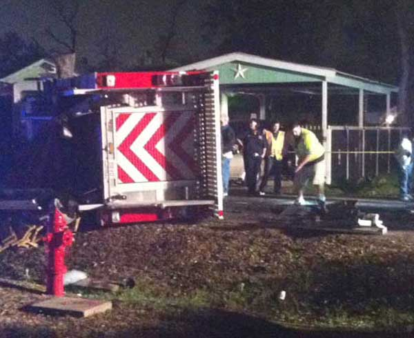 "<div class=""meta ""><span class=""caption-text "">Four firefighters and two other people were injured in a collision involving a Cloverleaf Volunteer Fire Department fire truck in east Harris County.  (Samica Knight)</span></div>"