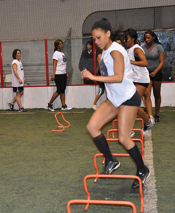 "<div class=""meta ""><span class=""caption-text "">The Houston Lady Panthers held practice Wednesday at Kicks Indoor with part of its talented roster for the new female football league.  The season starts at the George R. Brown, April 2012.  (KTRK)</span></div>"