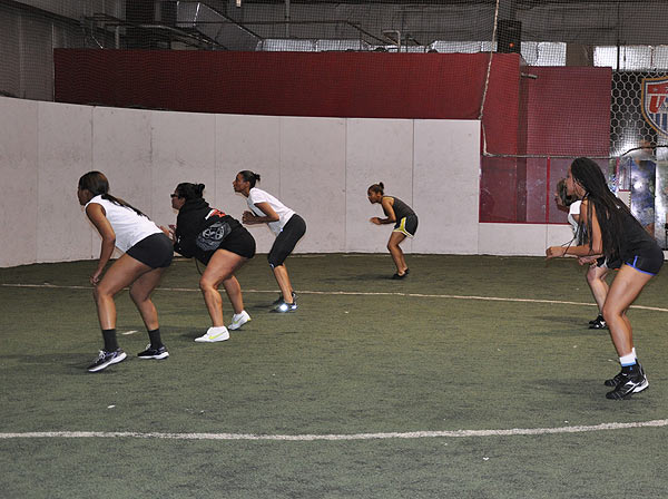 "<div class=""meta image-caption""><div class=""origin-logo origin-image ""><span></span></div><span class=""caption-text"">The Houston Lady Panthers held practice Wednesday at Kicks Indoor with part of its talented roster for the new female football league.  The season starts at the George R. Brown, April 2012.  (KTRK)</span></div>"