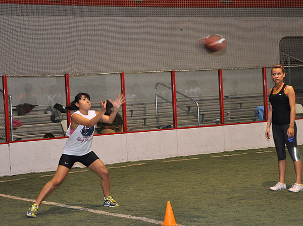 The Houston Lady Panthers held practice Wednesday at Kicks Indoor with part of its talented roster for the new female football league.  The season starts at the George R. Brown, April 2012.  <span class=meta>(KTRK)</span>