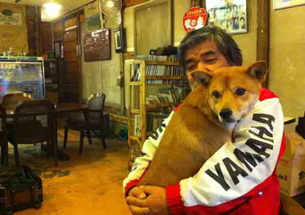 Satoshi Tomoe of Tochigi Animal Rescue holds Kento, one of the dogs rescued from the Fukushima evacuation zone.Adela Uchida is in Japan to cover the  one-year-anniversary of the devastating earthquake and tsunami.  Watch for her reports on Eyewitness News and on abc13.com