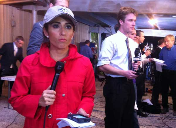 ABC13 Reporter Sonia Azad at a  briefing from law enforcement following the massive explosion in West, Texas. <span class=meta>(Jaime Zamora&#47;ABC13)</span>