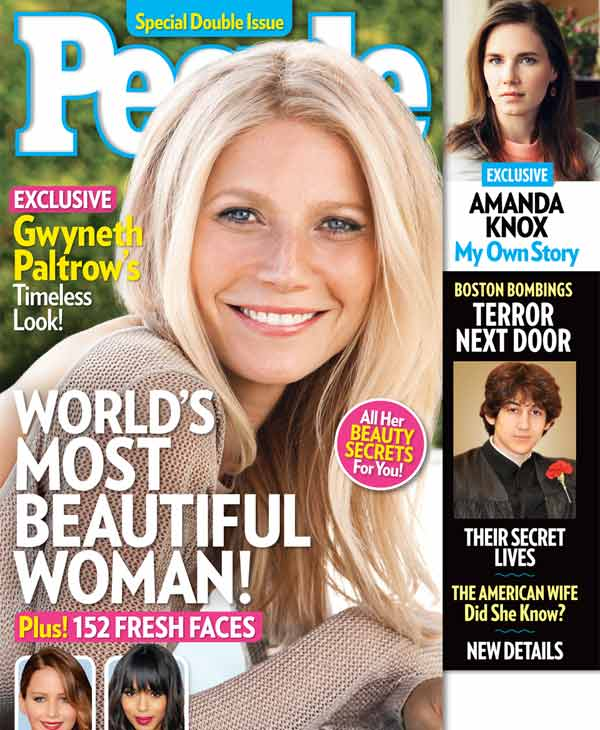 This cover image released by People shows actress Gwyneth Paltrow on the cover of a special double issue. The 40-year-old actress tops the magazine&#39;s annual list of the &#34;World&#39;s Most Beautiful,&#34; announced Wednesday, April 24, 2013. Paltrow stars in the upcoming film, &#34;Iron Man 3,&#34; out on May 3. The issue is available on newsstands on Friday, April 26. &#40;AP Photo&#47;People Magazine&#41; <span class=meta>(AP Photo)</span>