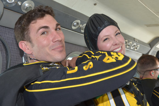 ABC-13 Meteorologist Casey Curry took part of a tandem jump with the US Army Golden Knights.  Several others also took the training class before they took the plunge with the elite parachuting team.  <span class=meta>(ABC-13)</span>