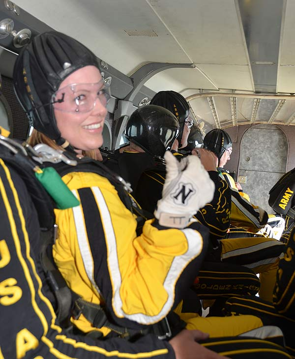 ABC-13 Meteorologist Casey Curry took part of a tandem jump with the US Army Golden Knights.  Several others also took the training class before they took the plunge with the elite parachuting team.  <span class=meta>( ABC-13)</span>