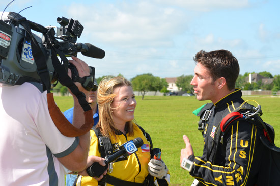 "<div class=""meta image-caption""><div class=""origin-logo origin-image ""><span></span></div><span class=""caption-text"">ABC-13 Meteorologist Casey Curry took part of a tandem jump with the US Army Golden Knights.  Several others also took the training class before they took the plunge with the elite parachuting team.  ( )</span></div>"