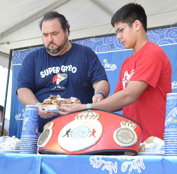 "<div class=""meta image-caption""><div class=""origin-logo origin-image ""><span></span></div><span class=""caption-text"">These are photos from the sixth annual Niko Niko's World Gyro Eating Championship Sunday, May 19, 2013, at the Greek Festival in west Houston.  Top-ranked completitive eater Joey Chestnut won with 22 1/4 gyros consumed in 10 minutes.  Second place was Matt Stonie. (Photo/ABC13)</span></div>"