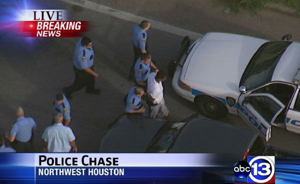 Photos from a police chase Tuesday, June 11, in northwest Houston.  Police were chasing a white GMC Yukon near the area of Hempstead and Antoine. <span class=meta>(Photo&#47;ABC13)</span>