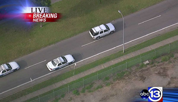 Photos from a police chase Tuesday, June 11, in northwest Houston.  Police were chasing a white GMC Yukon near the area of Hempstead and Antoine.