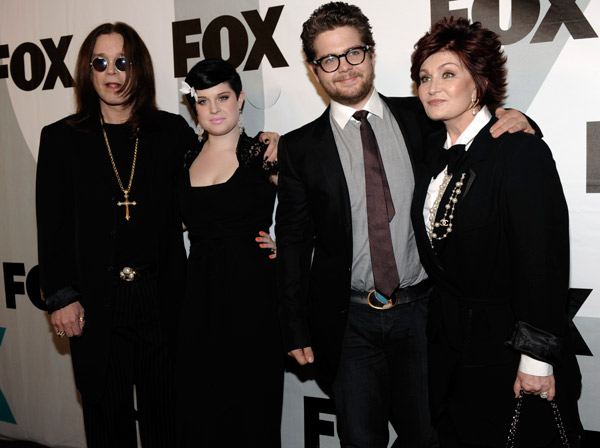 Left to right, Ozzy Osbourne, Kelly Osbourne, Jack Osbourne and Sharon Osbourne arrive at the FOX Winter All-Star Party in Los Angeles, Tuesday, Jan. 13, 2009. &#40;AP Photo&#47;Chris Pizzello&#41; <span class=meta>(AP Photo)</span>