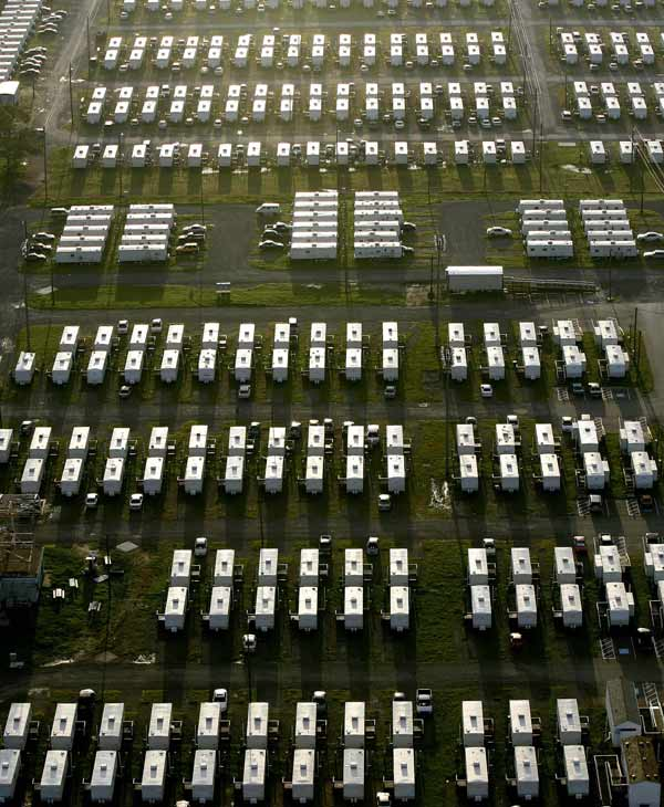 FEMA trailers that are being used for housing for University of New Orleans students and faculty are shown in New Orleans, Monday, Aug. 28, 2006. Hurricane Katrina came ashore almost a year ago flooding much of the city. Members of Congress toured the city and President Bush was headed for the region to see the state of recovery efforts one year after the city was ravaged by Hurricane Katrina. (AP Photo/Alex Brandon)
