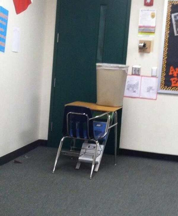 A barricaded classroom at Spring HS; photo by 10th grade student