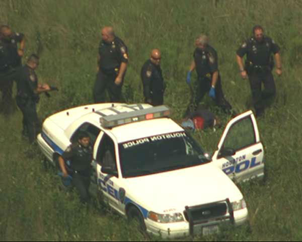 Sky Eye HD photos from the end of a bank robbery and chase  in northeast Harris County that ended with one suspect dead, another injured and three in custody <span class=meta>(Photo&#47;Sky Eye HD)</span>