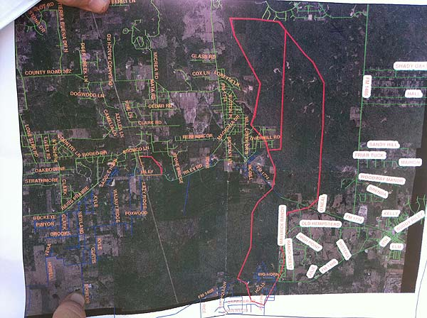 This map of the fire area in Grimes, Waller and Montgomery counties was released between 5:30 and 6:00pm Wednesday