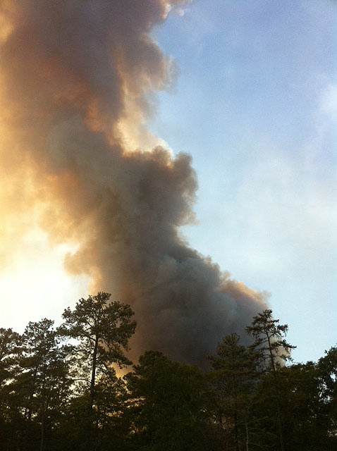 "<div class=""meta ""><span class=""caption-text "">Latest flare up at about 2:30pm Friday (9/9/11)  that's forcing more mandatory evacuations in Montgomery County. (Andy Cerota)</span></div>"