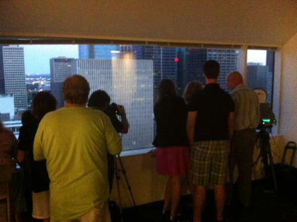 People gathered for a watch party to see the old Macy&#39;s building in downtown Houston imploded <span class=meta>(KTRK Photo&#47; Demond Fernandez)</span>