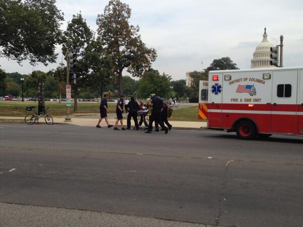 "<div class=""meta image-caption""><div class=""origin-logo origin-image ""><span></span></div><span class=""caption-text"">Authorities locked down the U.S. Capitol after shots rang out on the campus Thursday afternoon. A female suspect was killed. (Lucia Graves/ National Journal)</span></div>"