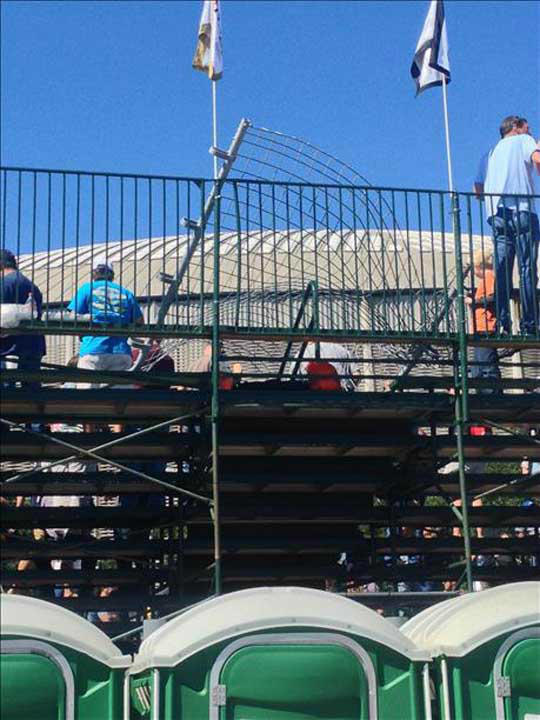 A crash sent debris into the stands at the Grand Prix of Houston. Officials say more than a dozen spectators were injured. <span class=meta>(Photo&#47;iWitness Reports)</span>