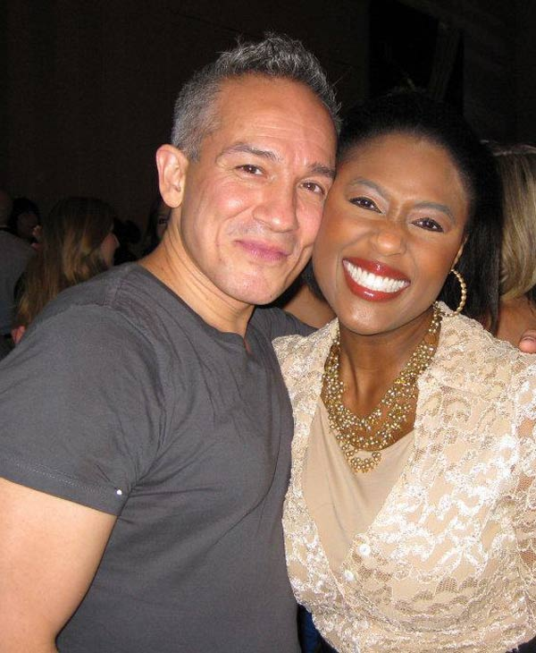 Fashion Designer Cesar Galindo and ABC13 anchor Sharron Melton at the Fashion Houston show