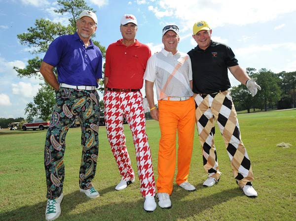 &#40;From left to right: Jack Matthews, Richard Harris, Steve Simmons and Darryl Traweek &#41; We just learned that the Bad Pants Open raised another &#36;340K this year for the Texas Children&#39;s Hospital Newborn Center, bringing the total to date to &#36;2 million!  These are just some of the fashions that were on display.  <span class=meta>(Allen Kramer for Texas Children&#39;s Hospital)</span>