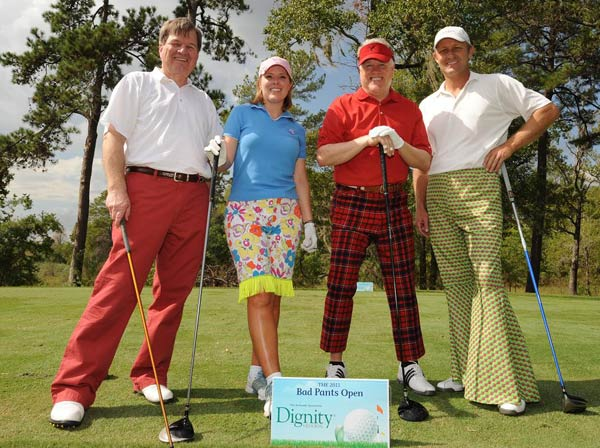 &#40;From left to right:  Gordon Menard, KTRL Channel 13 Meteorologist Casey Curry, Steven Croxson and Keith Jones &#41; We just learned that the Bad Pants Open raised another &#36;340K this year for the Texas Children&#39;s Hospital Newborn Center, bringing the total to date to &#36;2 million!  These are just some of the fashions that were on display.  <span class=meta>(Allen Kramer for Texas Children&#39;s Hospital)</span>