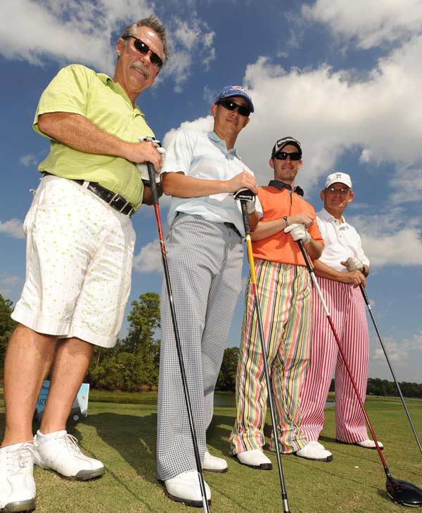 &#40;From left to right:  Former Houston Astro&#39;s manager Phil Garner, Chris Rhee, Jason Hollis and Larry Jaeger&#41;  We just learned that the Bad Pants Open raised another &#36;340K this year for the Texas Children&#39;s Hospital Newborn Center, bringing the total to date to &#36;2 million!  These are just some of the fashions that were on display.  <span class=meta>(Allen Kramer for Texas Children&#39;s Hospital)</span>