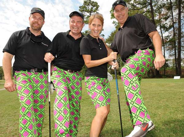 &#40;From left to right: Ryan Wilson, Don Roche, Kim Phillips and Mike Albrecht&#41;  We just learned that the Bad Pants Open raised another &#36;340K this year for the Texas Children&#39;s Hospital Newborn Center, bringing the total to date to &#36;2 million!  These are just some of the fashions that were on display.  <span class=meta>(Allen Kramer for Texas Children&#39;s Hospital)</span>
