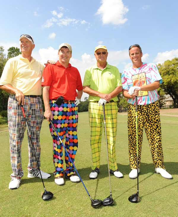 &#40;From left to right: Wade Upton, Dick Francis, Baines Manning and John Manning&#41;  We just learned that the Bad Pants Open raised another &#36;340K this year for the Texas Children&#39;s Hospital Newborn Center, bringing the total to date to &#36;2 million!  These are just some of the fashions that were on display.  <span class=meta>(Allen Kramer for Texas Children&#39;s Hospital)</span>