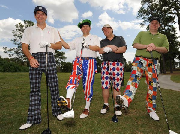 &#40;From left to right: John Mitchner, Roger Wood, Marc Kilbride and Henry Decker&#41;  We just learned that the Bad Pants Open raised another &#36;340K this year for the Texas Children&#39;s Hospital Newborn Center, bringing the total to date to &#36;2 million!  These are just some of the fashions that were on display.   <span class=meta>(Allen Kramer for Texas Children&#39;s Hospital)</span>