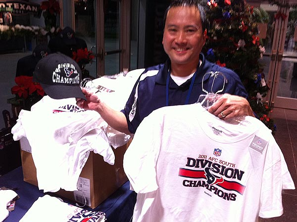 "<div class=""meta ""><span class=""caption-text "">Fans can get their hands on division championship gear at the Reliant Stadium Texans store (John Mizwa)</span></div>"