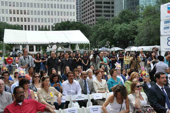 "<div class=""meta image-caption""><div class=""origin-logo origin-image ""><span></span></div><span class=""caption-text"">The 42nd Houston International Festival kicked off with an opening ceremony on Friday, April 20. Congresswoman Sheila Jackson-Lee  welcomed the 2012 festival ceremony on the steps of City Hall.   Sister Cities provided an opening parade with children representing several local international schools.  Entertainment was provided by Susana Collins and Luna Argentina Dance Company & Eternal Tango?s champion dance couple. (KTRK Photo)</span></div>"