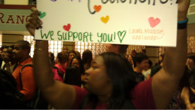 Photos from protests over teacher layoffs at Katy ISD high schools