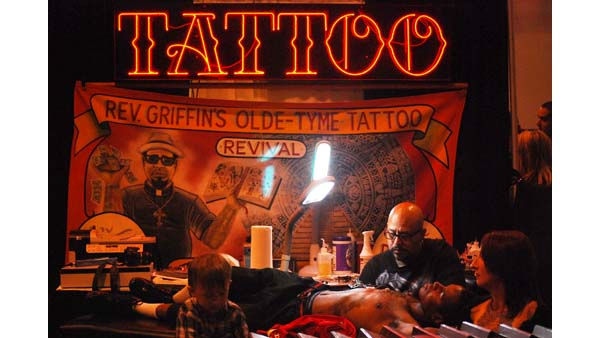 "<div class=""meta ""><span class=""caption-text "">A booth at the 2011 Body Art Expo -- the world's largest tattoo expo, and a ""gigantic skin show-off party"" at Reliant Center (KTRK Photo/ Kristy Gillentine)</span></div>"