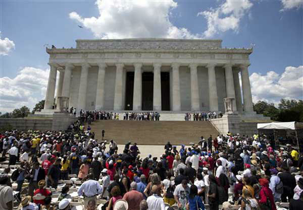 Participants gather on the steps of the Lincoln Memorial during an event to commemorate the 50th anniversary of the 1963 March on Washington, Saturday, Aug. 24, 2013, in Washington. &#40;AP Photo&#47;Carolyn Kaster&#41; <span class=meta>(Photo&#47;Carolyn Kaster)</span>