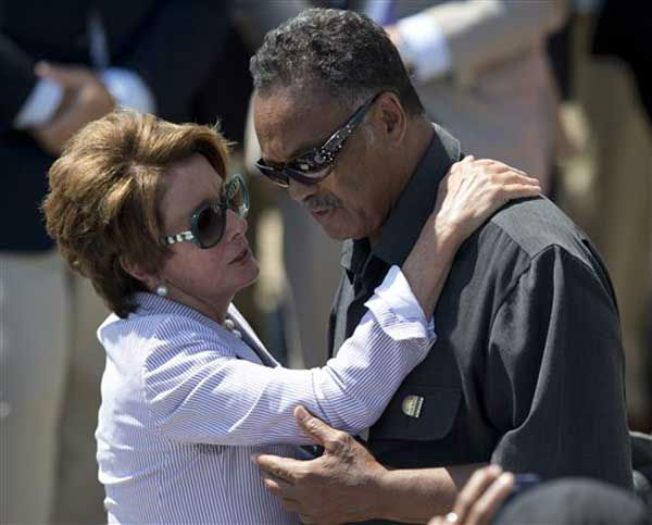 "<div class=""meta ""><span class=""caption-text "">House Minority Leader Nancy Pelosi of Calif., speaks with Rev. Jesse Jackson during an event to commemorate the 50th anniversary of the 1963 March on Washington at the Lincoln Memorial, Saturday, Aug. 24, 2013, in Washington. (AP Photo/Carolyn Kaster) (Photo/Carolyn Kaster)</span></div>"