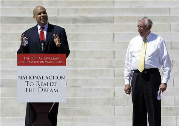 "<div class=""meta image-caption""><div class=""origin-logo origin-image ""><span></span></div><span class=""caption-text"">As Cory Booker, Mayor of Newark, N.J., speaks at a rally to commemorate the 50th anniversary of the 1963 March on Washington on the steps of the Lincoln Memorial, Rep. Steny Hoyer, D-Md., listens on Saturday, Aug. 24, 2013, in Washington. (AP Photo/Carolyn Kaster) (Photo/Carolyn Kaster)</span></div>"