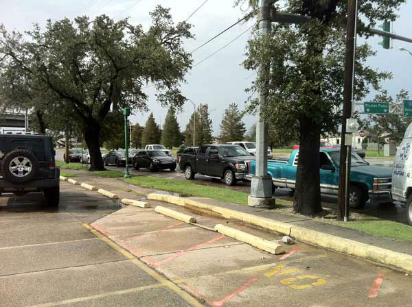 "<div class=""meta ""><span class=""caption-text "">Eyewitness News Reporter Samica Knight shot this photos from a gas line between the 7th and 8th Wards in New Orleans.   She says it was the only station around that actually had gas.  (Photo/Samica Knight)</span></div>"